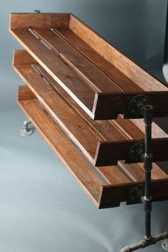Handmade Reclaimed Wood Shoe Stand with Pipe Stand by ReformedWood: