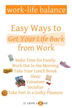 Balance It Out: Easy Ways to Get Your Life Back from Work by Madeline Stilley - Make time for family, Work  out, take your lunch break...""