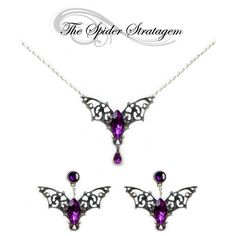 Gothic bat winged earrings necklace ring 'Purple/Red Bats' halloween... ($30) ❤ liked on Polyvore featuring jewelry, purple jewelry, victorian silver jewelry, goth jewelry, gothic silver jewelry and silver jewellery