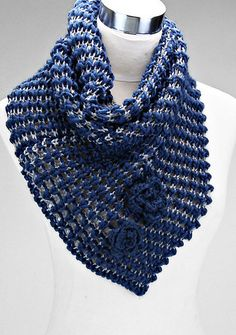 Knit Cassidy Infinity Scarf in Blue
