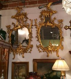 Pair Carved Gilt Wood Mirrors Chippendale Style $5895 Each or $10,000 Pair Dealer #5082 Antique Row 5013 W Lovers Ln. Dallas, TX 752...
