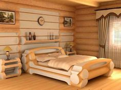 How to Build a Log Bed – Tutorial Log Furniture, Bedroom Furniture, Cheap Furniture, Discount Furniture, Office Furniture, Log Bed Frame, Bed Frames, Diy Bett, Rustic Bedding