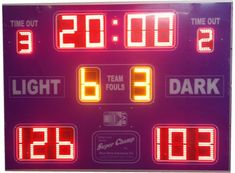 From high-level custom panel scoreboard options with detailed player stats or more compact basketball scoreboards that cover all the key information. Basketball Scoreboard, Basketball Uniforms, Time Out, Light In The Dark, Screens, Youth, Range, Led, Sport