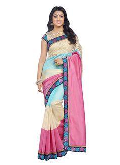 c4ab2c9611 Buy Pink printed art silk saree with blouse south-indian-saree online