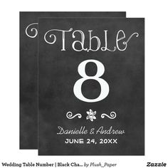 Wedding Table Number | Black Chalkboard Charm Charming chalkboard wedding table number cards for a casual chic occasion feature handwritten style fonts and scroll designs that have a white chalk appearance on a background that has a rustic black board textured appearance. Two-sided design. Customize and add each individual table number to your shopping cart.