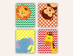 Jungle Animal Nursery Print Set  Elephant by SaraWintersDesigns, $28.00