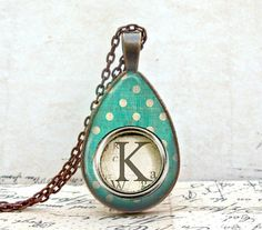 Custom Letter Necklace : Green Polka Dot Typewriter Key, Tear Drop Shape Glass Dome Vintage Copper Pendant with Matching Link Chain