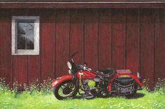 """Harley Davidson """"Crow Spirit""""  1949 WL Flathead. canvas transfer by artist Darcy Gerdes"""