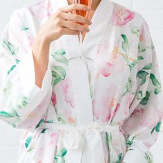 Soft and silky, our exclusive floral on white kimono robe features an original water color print in a romantic palette that celebrates pretty. Spoil yourself or all the special gals on your gift buying list.