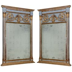 Pair of Painted and ParcelGilt Trumeau Mirrors | From a unique collection of antique and modern wall mirrors at http://www.1stdibs.com/furniture/mirrors/wall-mirrors/