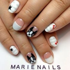 Looking for new nail art ideas for your short nails recently? These are awesome designs you can realistically accomplish–or at least ideas you can modify for your own nails! Dog Nail Art, Animal Nail Art, Dog Nails, Cute Nail Art, Nail Art Designs, Nagel Hacks, Nails For Kids, Creative Nails, Blue Nails