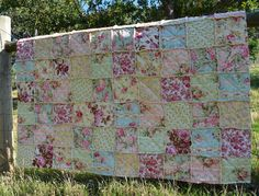 Love these fabrics. Shabby Chic French Country Rag Quilt. by SeasonOfTheStitch on Etsy, $350.00