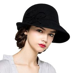 Maitose Women's Wool Felt Flowers Church Bowler Hats Black * You can get additional details at the image link.