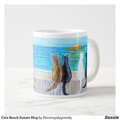 Cats Beach Sunset Mug. Four cats sitting on a fence at the beach watching birds while the sun sets. Cat Coffee Mugs Cat Coffee Mug, Cat Mug, Coffee Time, Cat Lover Gifts, Cat Gifts, Cat Lovers, Extra Large Coffee Mugs, Cat Scratching Post, Cat Sitting