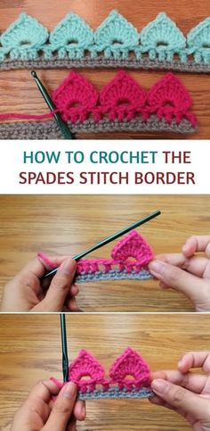 Crochet Spades Stitch Border or Edging Crochet Border Patterns, Crochet Blanket Border, Crochet Boarders, Crochet Lace Edging, Crochet Designs, Free Crochet, Knitting Patterns, Crochet Edges For Blankets, Knit Crochet