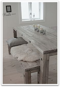 diy bord og benk Decor, Interior Design, Upcycled Furniture, Furniture, Diy Furniture Projects, Home Diy, Rustic Dining Table, Home Styles, Home Decor