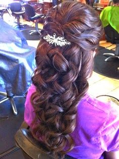 loose half updo half down prom hairstyles for long thick hair
