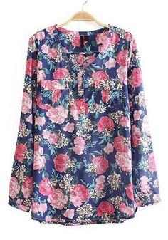 Dark Blue Floral Print Long Sleeve Cotton Blouse $28