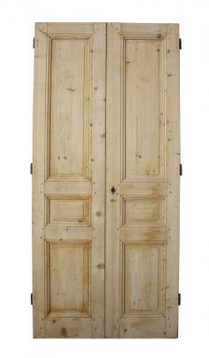 antique double doors   PAIR OF ANTIQUE FRENCH PINE DOUBLE DOORS