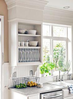 Cabinet Plate Rack, Plate Racks In Kitchen, Diy Plate Rack, Plate Shelves, Dish Cabinet, Update Kitchen Cabinets, Kitchen Shelves, Kitchen Storage, Kitchen Organization
