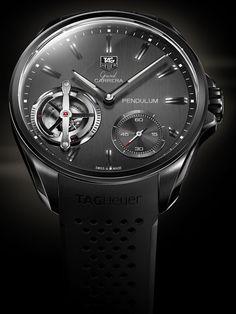 TAG Heuer Grand Carrera Pendulum 2. Nel 2010, TAG Heuer riesce a stupire il mondo dell'orologeria: ha infatti sostituito la tradizionale molla del bilanciere con una serie di magneti che regolano la ruota del bilanciere.