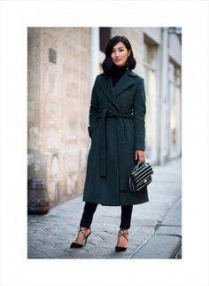 Gary Pepper. Bottle Green trench with lace up heels. Perfection.