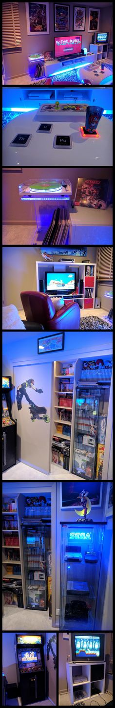 Clean white furniture video game room with Colorful LED lighting via NeoGaf forums user Psycho Echidna