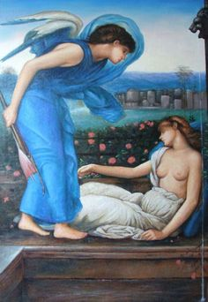 Edward Burne-Jones - Cupid discovers Psyche.  Tags: cupid, eros, psyche,