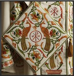 Recently, one of our Eastern Christian readers drew my attention to an Eastern Christian vestment company which is associated with the Serbi. Hardanger Embroidery, Embroidery Patterns, Byzantine Icons, Modern Artwork, Colour Schemes, Needlepoint, Needlework, Decorative Boxes, Pure Products