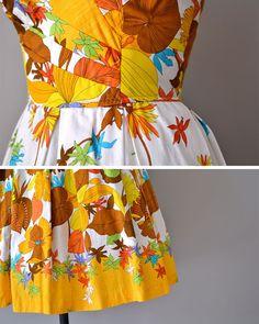 vintage 1950s dress / cotton 50s dress / floral by DearGolden, $224.00