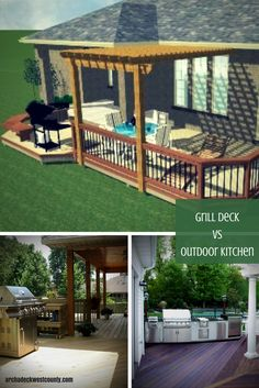 With the right set-up you can enjoy grilling throughout autumn.  Click here to learn about grills vs. outdoor kitchens and which is right for you. | archadeckwestcounty.com