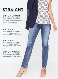 Guide to Denim Inseams for Women - Jeans For Petite Women - Ideas of Jeans For Petite Women - My rise for straight legs is or under. Sit at ankle length. Guide to Denim Inseams Stitch Fix Outfits, Fashion Models, All Jeans, Jeans For Tall Women, Casual Outfits, Fashion Outfits, Women's Fashion, Petite Fashion Tips, Stitch Fix Stylist