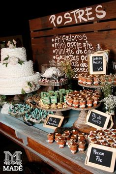Dessert table ideas a wedding dessert table nobody will be able to resist simple wedding dessert Wedding Desserts, Fall Desserts, Wedding Cakes, Wedding Themes, Candy Table, Candy Buffet, Dessert Buffet, Dessert Bars, Mexican Dessert Table