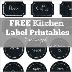 Free kitchen/pantry labels in two designs - ChalkBoard style.