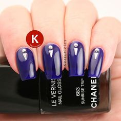 """Chanel Sunrise Trip, the new """"nail gloss"""", a gel-like colour, with some Bundle Monster silver studs. Lovely jelly colour, but really ropey brush on all the recent Chanel polishes (sort it out @chanelofficial !) . . . #nails #instanails #notd #nailsoftheda"""