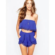 The Jetset Diaries Shimmy Bandeau Top with Pom Pom Detail ($51) ❤ liked on Polyvore featuring tops, blue, woven crop top, blue top, stretchy crop top, bandeau tops and stretchy tops