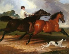 A Young Man Exercising Horses and a Greyhound in a Landscape by Alfred de Dreux | Art Posters & Prints