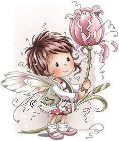 The little fairy of Pink Illustration Mignonne, Cute Illustration, Whimsy Stamps, Digi Stamps, Cute Images, Cute Pictures, Art Mignon, Fairy Art, Illustrations