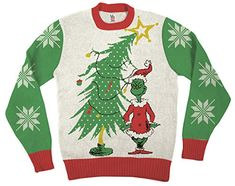 Grinch As Santa Next To Tree Sweater | Ugly-Sweaters.com
