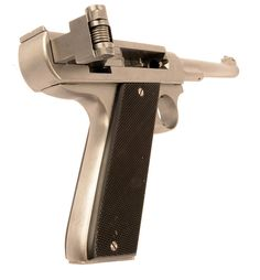 A Swiss .357 Magnum toggle action prototype pistol designed by Philipp Sola (1970). Its action is essentially that of a sideways Luger.