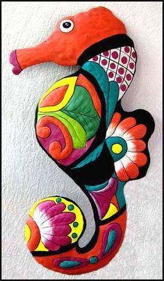 Seahorse Nautical Wall Hanging - Hand Painted Metal Garden Art x Beach home decorating - Painted metal seahorse, Tropical decorating – Garden décor, Tropical Home Decor - Tropical design - Tropical wall art - Caribbean decor Art Tropical, Design Tropical, Tropical Wall Decor, Coastal Wall Art, Tropical Pool, Tropical Interior, Coastal Decor, Tropical Furniture, Tropical Colors