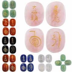 Crystal Engraved Chakra Gemstone Traditional Usui Reiki Symbol Healing balancing set of four palm stones carved and polished runes. Gem stone sets are Rose Quartz, Black Agate, Lapis Lazuli, Green Aventurin, Red Jasper, Carnelian and Crystal Quartz. Usui Reiki engraved symbol meanings are; Cho Ku Ray (Power), Sei Hei K