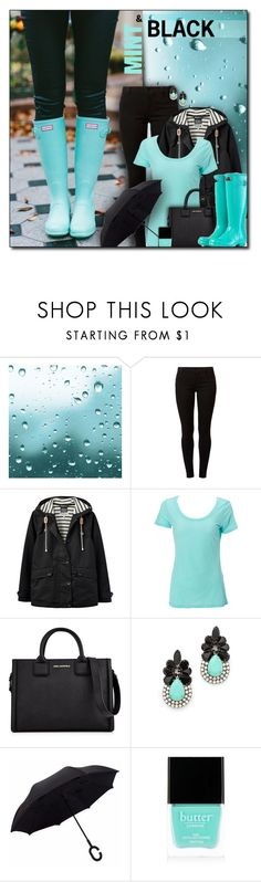 """""""#783 - Mint & Black Rainy Day"""" by lilmissmegan ❤ liked on Polyvore featuring Hunter, Dorothy Perkins, Joules, Simplex Apparel, Karl Lagerfeld, Auden, Butter London, GetTheLook, mint and rainyday"""
