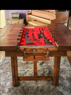 Hidden Gun Safe Coffee Table - Hidden Gun Storage Coffee Table From the Rustic Acre In College. 9 Unusual Hidden Gun Safes to Keep Your Firearms Secure. Secret Compartment Furniture, Hidden Gun, Gun Rooms, Hidden Compartments, Table Design, Hidden Storage, Secret Gun Storage, Storage Rack, Diy Storage