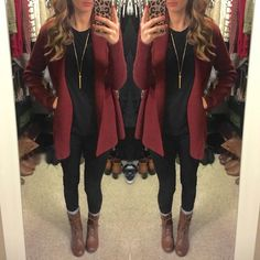 All Black, Maroon Cardigan, Combat Boots, Comfy winter outfit