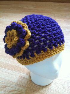 Minnesota Vikings inspired crochet flower hat  by StitchinSally, $18.00