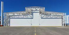 3-piece vertical lifting aircraft hangar door Jumbo Jet, Exterior Doors, 3 Piece, Aircraft, Garage Doors, Construction, Outdoor Decor, Home, Building