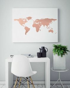 rose-gold-foil-world-map-print-real-foil-print-unique-gift-ideas-genuine-foil-art-abstract-wall-art-teen-room-decor-how-to-rock-it-this-fabulo/ SULTANGAZI SEARCH Decoration Bedroom, Teen Room Decor, Room Wall Decor, Marble Room Decor, Rose Gold Rooms, Rose Gold Decor, Rose Gold Interior, My New Room, My Room
