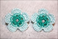 Crochet Daisy Earrings Ombre Blue and Teal by CatWomanCrafts, $10.00