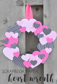 Grab a few basic supplies from your craft stash to make this simple but very cute scrapbook paper heart wreath for Valentine's Day!